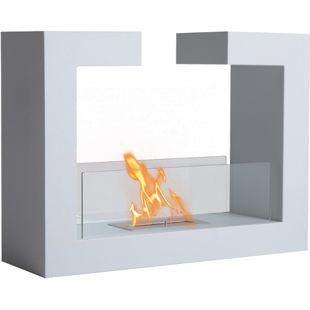 HOMCOM Bodenkamin mit Bioethanol betrieben weiß 78 x 25 x 58 cm (LxBxH)   freistehender Biokamin Kaminofen Standkamin Kamin