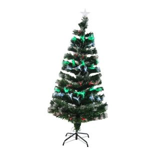HOMCOM Künstlicher Weihnachtsbaum mit Leuchtfaser grün 74 x 150 cm (ØxH) | Tannenbaum Christbaum LED Xmas tree Lichtfaser