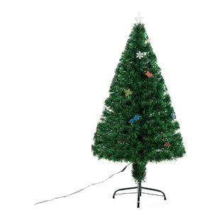 HOMCOM Tannenbaum inklusive Metallständer grün 62 x 120 cm (ØxH) | Weihnachtsbaum Christbaum LED Xmas tree Lichtfaser