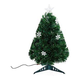 HOMCOM Christbaum inklusive Kunststoffständer grün 25 x 60 cm (ØxH) | Weihnachtsbaum Tannenbaum LED Xmas tree Lichtfaser