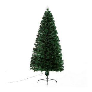 HOMCOM Christbaum inklusive Metallständer grün 82 x 180 cm (ØxH) | Weihnachtsbaum Tannenbaum LED Xmas tree Lichtfaser