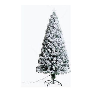 HOMCOM Christbaum inklusive Metallständer grün, weiß 82 x 180 cm (ØxH) | Weihnachtsbaum Tannenbaum LED Xmas tree Lichtfaser