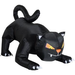 HOMCOM Aufblasbare Katze mit LED schwarz 190 x 110 x 120 cm (LxBxH) | Selbstaufblasende Figur Halloween Deko Gartendeko