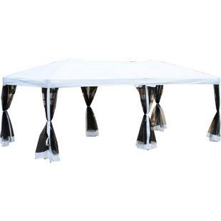 Outsunny Luxus Faltpavillon mit Transporttasche weiß-schwarz 600 x 300 x 255 cm (LxBxH)   Faltzelt Partyzelt Gartenzelt Bierzelt Pavillon