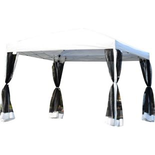 Outsunny Faltzelt mit Seitenwänden weiß 3 x 3 x 2,55 m (LxBxH) | Pavillon Faltpavillon Partyzelt Gartenpavillon
