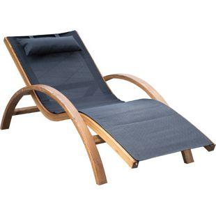 Outsunny Relaxliege für den Garten schwarz 165 x 72 x 86 cm (LxBxH) | Liegestuhl Sonnenliege Gartenliege Relaxsessel