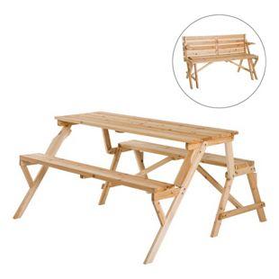 Outsunny 2 in 1 Gartengarnitur klappbar natur | Bierzeltgarnitur Sitzgruppe Tisch mit Sitzbank Bank