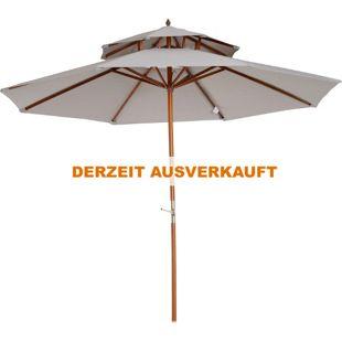Outsunny Sonnenschirm mit Doppeldach grau 270 x 260 cm (ØxH) | Sonnenschirm Balkonschirm Sonnenschutz Holzschirm