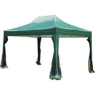 Outsunny Faltpavillon mit Netzseitenteilen grün 300 x 450 x 320 cm (LxBxH) | Faltzelt Gartenzelt Partyzelt Pavillon Bierzelt