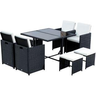 Outsunny Polyrattan Sitzgruppe als 21 teiliges Set schwarz | Polyrattan Gartenmöbel Gartenset Essgruppe