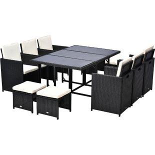 Outsunny Rattan Sitzgruppe als 27 teiliges Set schwarz | Polyrattan Gartenmöbel Gartenset Essgruppe