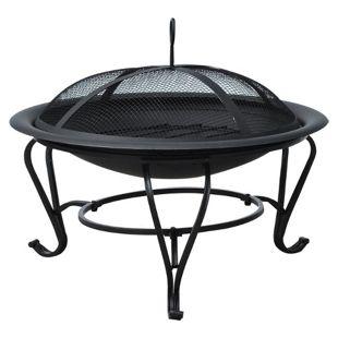 Outsunny Feuerkorb für Holz und Holzkohle schwarz 56 x 45 cm (ØxH) | Feuerschale mit Funkenschutz Feuerstelle Schale