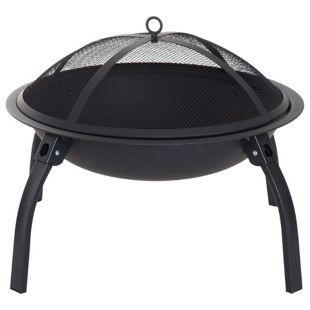 Outsunny Feuerschale mit Funkenschutz schwarz 70,5 x 70,5 x 40 cm (LxBxH) | Terassenofen Feuerkorb Feuerstelle Holzkohlegrill