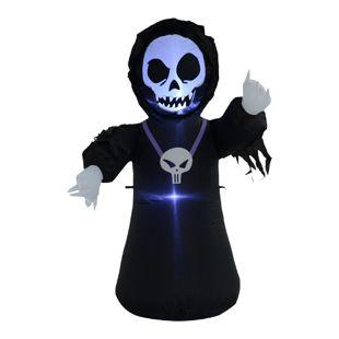 HOMCOM Halloween Spukgespenst mit Beleuchtung schwarz 70 x 40 x 120 cm (LxBxH) | Selbstaufblasende Figur Halloween Deko Gartendeko
