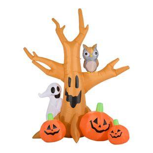 HOMCOM Halloween Spukbaum mit Beleuchtung natur 190 x 100 x 240 cm (LxBxH) | Selbstaufblasende Figur Halloween Deko Gartendeko