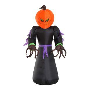 HOMCOM Halloween-Kürbis-Schreck mit 6 LED-Lichtern schwarz, orange 110 x 66 x 210 cm (LxBxH) | Selbstaufblasende Figur Halloween Deko Gartendeko