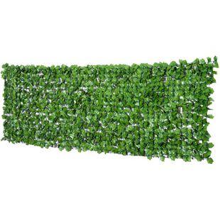 Outsunny Künstliche Hecke als Sichtschutz dunkelgrün 300 x 100 cm (LxH) | Sichtschutzhecke Zaunblende Windschutz Efeu