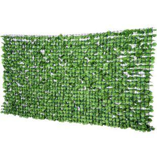 Outsunny Künstliche Sichtschutzhecke grün 300 x 150 cm (LxH) | Künstliche Hecke Zaunblende Windschutz Efeu