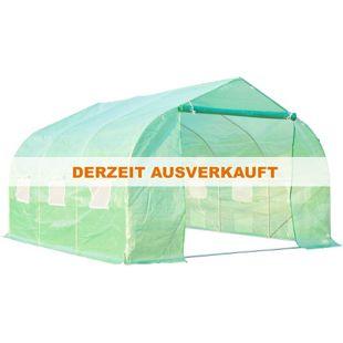 Outsunny Foliengewächshaus grün 350 x 300 x 200 cm (LxBxH) | Treibhaus Tomatenhaus Gewächshaus Frühbeet