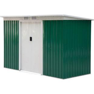 Outsunny Geräteschuppen mit Schiebetüren grün, weiß 277 x 130 x 173 cm (LxBxH)   Gerätehaus Gartenhaus Metallhütte mit Pultdach