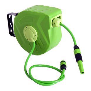 DURHAND Schlauchtrommel schwenkbar grün 33 x 16 x 28,5 cm (LxBxH) | Schlauchaufroller Wasserschlauchtrommel Aufroller