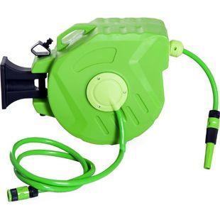 DURHAND Schlauchaufroller schwenkbar grün 45 x 21 x 35,5 cm (LxBxH) | Schlauchtrommel Wasserschlauchtrommel Aufroller