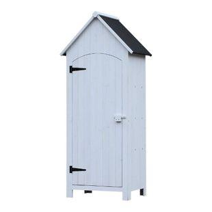 Outsunny Gartenschrank mit Bitumenpappe 77,5 x 54,2 x 179,5 cm (LxBxH) | Gerätehaus Geräteschrank Holzhütte mit Giebeldach