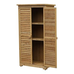 Outsunny Gartenschrank mit Lamellentüren natur 87 x 46,5 x 160 cm (LxBxH) | Geräteschrank Holzhütte mit Pultdach Bitumenpappe