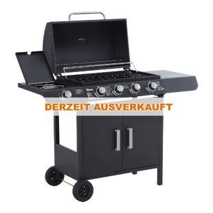 Outsunny Außenküche mit 5 Brennern schwarz 122 x 55 x 98 cm (LxBxH) | Gasgrill Grillwagen BBQ Standgrill mit Thermometer