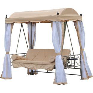 Outsunny Hollywoodschaukel mit Liegefunktion beige, weiß 206 x 119 x 207 cm (LxBxH)   Gartenschaukel Schaukelbank mit Sonnendach 3-Sitzer