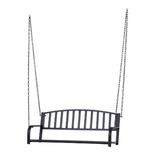 Outsunny Schaukelbank als 2-Sitzer schwarz 63 x 128 x 47 cm (LxBxH) | Hängebank Gartenschaukel Metall-Hängebank Garten