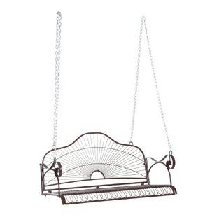 Outsunny Hängeschaukel als 2-Sitzer braun 122 x 58 x 57 cm (LxBxH) | Hollywoodschaukel Gartenschaukel Metall-Hängebank