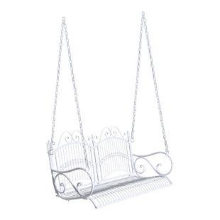 Outsunny Gartenschaukel als 2-Sitzer weiß 118 x 58 x 57 cm (LxBxH) | Hollywoodschaukel Hängeschaukel Metall-Hängebank
