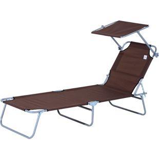 Outsunny Sonnenliege mit Sonnenschutz 187 x 58 x 27 cm (LxBxH) | Gartenliege Wellnessliege Strandliege klappbar