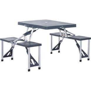 Outsunny Campingtisch mit 4 Sitzen schwarz, grau 136 x 85 x 65 cm (LxBxH) | Klapptisch Picknicktisch Sitzgruppe Koffertisch