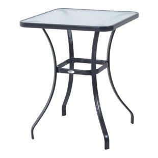 Outsunny Glastisch schwarz 68,5 x 68,5 x 84 cm (LxBxH) | Gartentisch Bistrotisch Balkontisch Beistelltisch