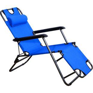 Outsunny Sonnenliege mit Kopfkissen blau | Relaxliege Strandliege Gartenliege klappbar Strand
