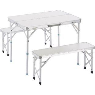 Outsunny Klapptisch inklusive 2 Bänke silber | Campingtisch Koffertisch Sitzgruppe Picknicktisch