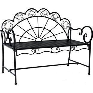 Outsunny Sitzbank im französischer Stil schwarz 113 x 56,5 x 90,5 cm (LxBxH) | Parkbank Sitzbank Bank Gartenmöbel 2-Sitzer