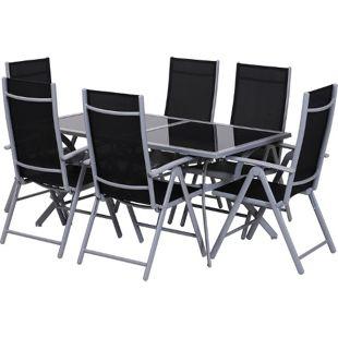 Outsunny Gartensitzgruppe mit 6 Stühlen schwarz, silber   Gartengarnitur Balkonmöbel Sitzgarnitur Sitzgruppe