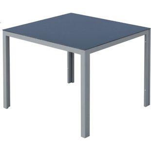 Outsunny Gartentisch mit Glasplatte schwarz, silber 87 x 87  x 72 cm (LxBxH) | Balkontisch Terrassentisch Esstisch Alu-Tisch