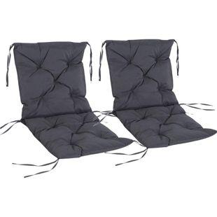 Outsunny Stuhlauflage als 2er-Set grau 98 x 50 x 8 cm (LxBxH) | Sitzkissen Auflage für Sitzbank Gartenbankauflage
