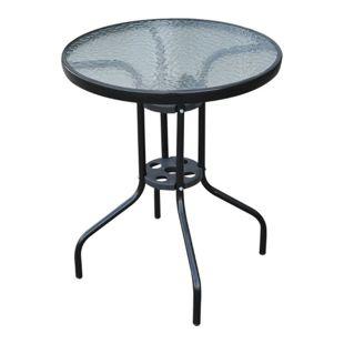 Outsunny Glastisch mit Wasserkräuselung-Muster schwarz 60 x 70 cm (ØxH) | Gartentisch Balkontisch Bistrotisch Beistelltisch