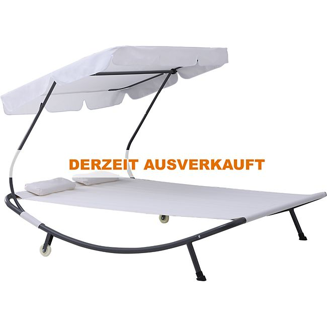 Outsunny Doppelliege Sonnenliege rollbar mit Dach Stahl ...