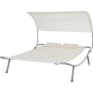 Outsunny Doppelliege mit Dach 200 x 170 x 138 cm (LxBxH) | Sonnenliege Gartenliege Sonnendach Duo-Relaxliege