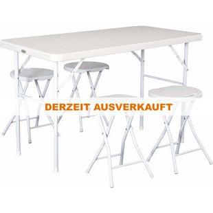 Outsunny Picknicktisch in Rattan-Optik weiß | Campingtisch Sitzgruppe Campingmöbel Tisch Stuhl