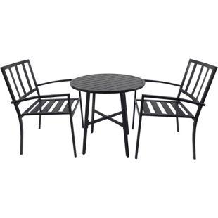 Outsunny Sitzgruppe als 3-teiliges Set schwarz | Essgruppe Esstisch-Set runder Tisch mit 2 Stühlen