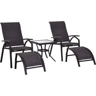 Outsunny Gartengarnitur als 5-teiliges Set   Gartensitzgruppe Gartenliege mit Tisch Gartenmöbel