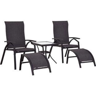 Outsunny Gartengarnitur als 5-teiliges Set schwarz   Gartensitzgruppe Gartenliege mit Tisch Gartenmöbel