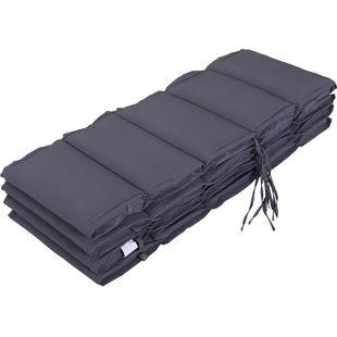 Outsunny Sesselauflagen als 4er-Set grau 118 x 48 x 4,5 cm (LxBxH) | Liegenpolster Auflagenset faltbare Sitzkissen